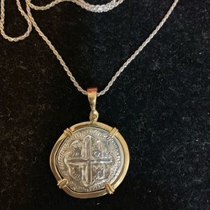 Jewelry - Atocha silver coin pendant in gold bezel &chain